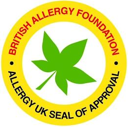 · BRITISH ALLERGY FOUNDATION · ALLERGY UK SEAL OF APPROVAL trademark