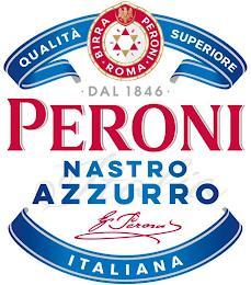 PERONI NASTRO AZZURRO QUALITÀ SUPERIOREITALIANA BIRRA · PERONI · ROMA · DAL 1846 · trademark