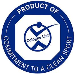 COLOGNE LIST PRODUCT OF COMMITMENT TO ACLEAN SPORT trademark
