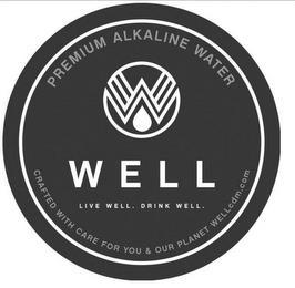 PREMIUM ALKALINE WATER W WELL LIVE WELL. DRINK WELL. CRAFTED WITH CARE FOR YOU & OUR PLANET WELLCDM.COM trademark