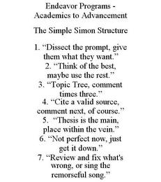 """ENDEAVOR PROGRAMS - ACADEMICS TO ADVANCEMENT THE SIMPLE SIMON STRUCTURE 1. """"DISSECT THE PROMPT, GIVE THEM WHAT THEY WANT."""" 2. """"THINK OF THE BEST, MAYBE USE THE REST."""" 3. """"TOPIC TREE, COMMENT TIMES THREE."""" 4. """"CITE A VALID SOURCE, COMMENT NEXT, OF COURSE."""" 5. """"THESIS IS THE MAIN, PLACE WITHIN THE VEIN."""" 6. """"NOT PERFECT NOW, JUST GET IT DOWN."""" 7. """"REVIEW AND FIX WHAT'S WRONG, OR SING THE REMORSEFUL  trademark"""
