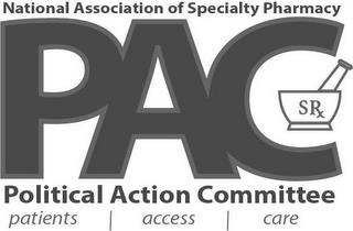 NATIONAL ASSOCIATION OF SPECIALTY PHARMACY PAC POLITICAL ACTION COMMITTEE PATIENTS | ACCESS | CARE SR trademark