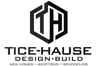 TH TICE-HAUSE DESIGN · BUILD NEW HOMES · ADDITIONS · REMODELING trademark