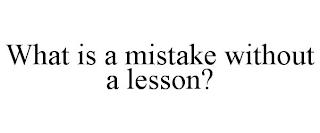 WHAT IS A MISTAKE WITHOUT A LESSON? trademark