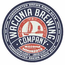 WACONIA BREWING · COMPANY · N W E HANDCRAFTED BREWS SINCE 2014 WACONIA MINNESOTA LATITUDE 44.8500° N LONGITUDE 93.7833° W trademark