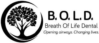 BREATH OF LIFE DENTAL OPENING AIRWAYS. CHANGING LIVES. B O L D trademark