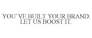 YOU'VE BUILT YOUR BRAND. LET US BOOST IT. trademark