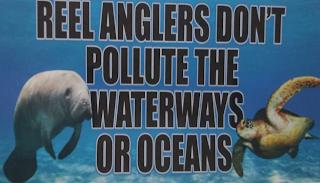 REEL ANGLERS DON'T POLLUTE THE WATERWAYS OR OCEANS trademark