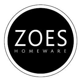 ZOES HOMEWARE trademark
