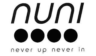 NUNI NEVER UP NEVER IN trademark