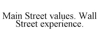 MAIN STREET VALUES. WALL STREET EXPERIENCE. trademark