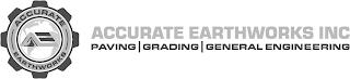 ACCURATE EARTHWORKS AE ACCURATE EARTHWORKS INC PAVING | GRADING | GENERAL ENGINEERING trademark