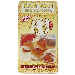 KAM WAH EGG YOLK PIES 102 NET WT 19.7 OZ (560 G) BANH BIA CO TRUNG TARTES DE JAUNE D' OEUF trademark