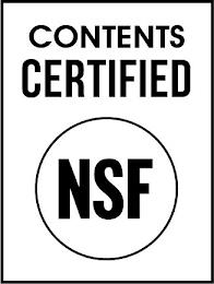 CONTENTS CERTIFIED NSF trademark