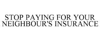 STOP PAYING FOR YOUR NEIGHBOUR'S INSURANCE trademark