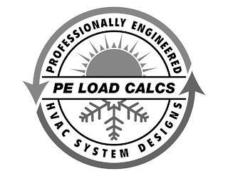 PROFESSIONALLY ENGINEEREED PE LOAD CALCS HVAC SYSTEM DESIGNS trademark