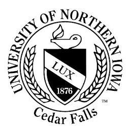 UNIVERSITY OF NORTHERN IOWA LUX 1876 CEDAR FALLS trademark
